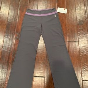 NWT Gray Purple ROOTS Yoga Pants- size Large